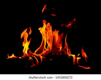 Flame of fire on a black background .
