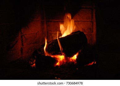 flame in fireplace