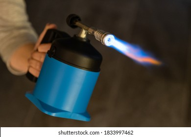 Flame from the gas burner - Soldering lamp in use