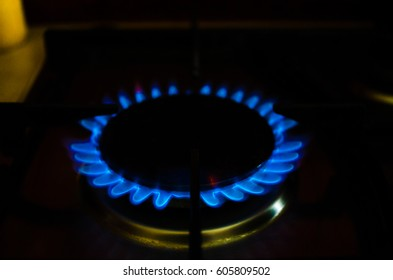 Flame gas of a burning stove in the dark