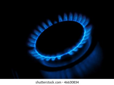 Flame of gas, isolated on black background