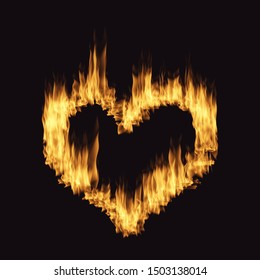 Flame heart  isolated on the black background