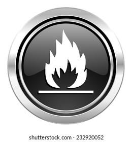 flame icon, black chrome button
