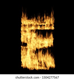 Flame letter E isolated on the black background