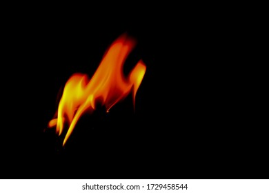 The flame on the black background