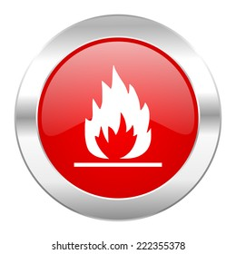 flame red circle chrome web icon isolated