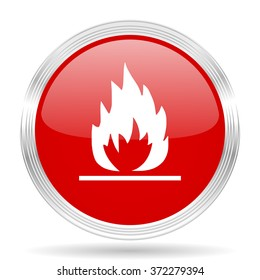 flame red glossy circle modern web icon on white background