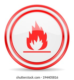 flame red white glossy web icon