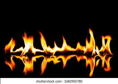 flame with reflection on a black background