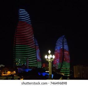 flame tower at night  - Baku Azerbaijan - September 2017