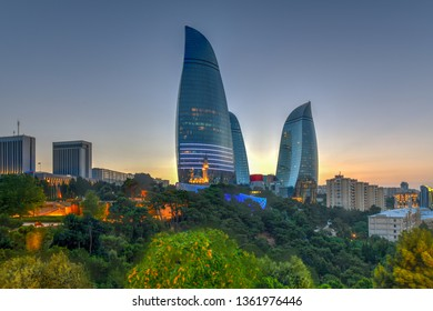 The Flame Towers in Baku, Azerbaijan. A view of the city skyline on a dramatical sunset.