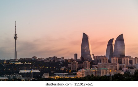 Flame towers are modern architecture in Baku, Azerbaijan.