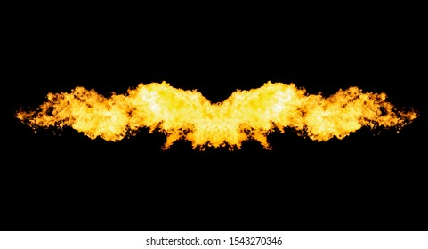 Flame wavy shape isolated on black, header, footer