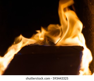 Flame When Burning the Paper in the Oven.