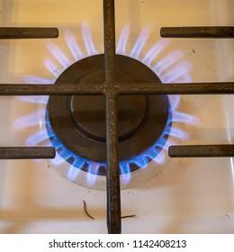 Flamed up stove burner
