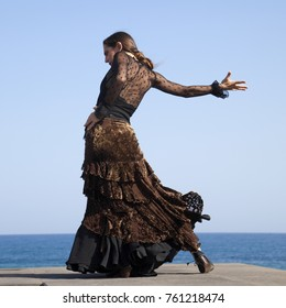flamenco by ocean shore - young attractive woman in a long blac dress dances, ocean and blue sky in the background