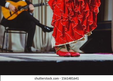 Flamenco dancer legs in red shoes on stage