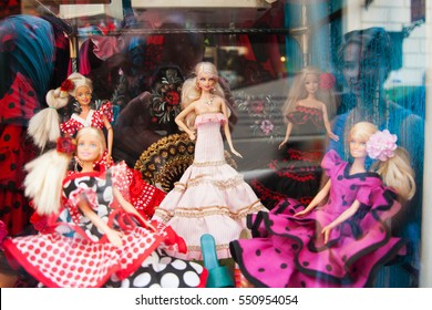 Flamenco dancers. Display window of  souvenir shop with barbie dolls wearing like Flamenco dancers. Spain, Sevilla