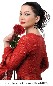 Flamenco style girl with a rose  isolated on white background