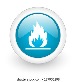flames blue circle glossy web icon on white background