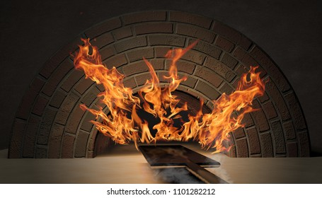 flames in the brick oven