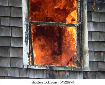 flames  broken window