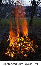 Flames burning in the bonfire