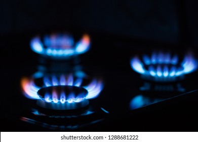 Flames from burning gas on the stove. Blue gas flame
