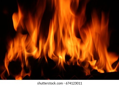 Flames of fire with a dark background
