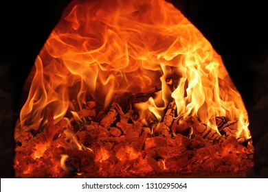 the flames of fire in the traditional wood oven