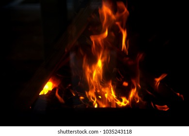 Flames In The Fireplace
