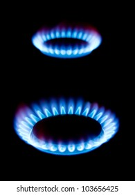 Flames of gas isolated on black background