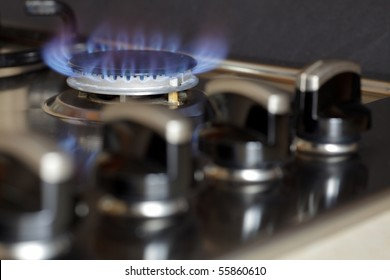 Flames of gas stove black background