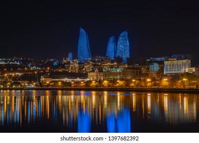 flames at night lighting baku azerbaijan