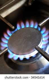 Flames on the ring of a domestic gas cooker