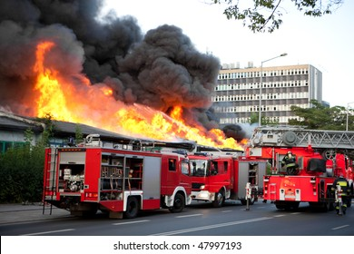 Flames over building