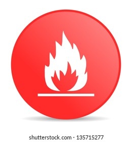flames red circle web glossy icon