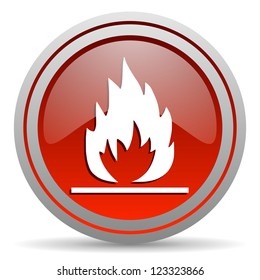flames red glossy icon on white background