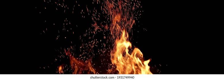 Flammen und Funkenhintergrund einzeln auf Schwarz . Abstrakter flammender Hintergrund. Zauberhaftes Tapete. Fliegender Funkenhintergrund, Nahaufnahme. Feuer brennt in der Nacht. Energiekonzept.