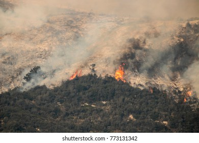 Flames towering on hillside in California wildfire