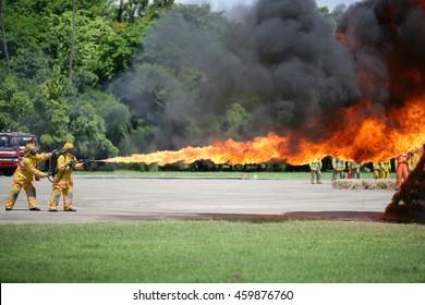 Flamethrower in action.