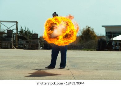 Flamethrower in action. Flamethrower operational test