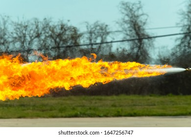 Flamethrower in action. a Flamethrower operational test.