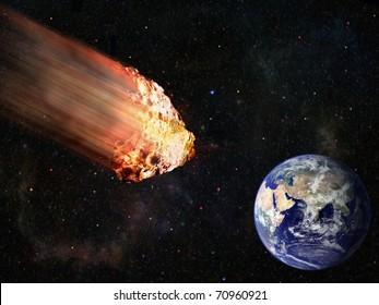 flaming asteroid hitting earth illustration