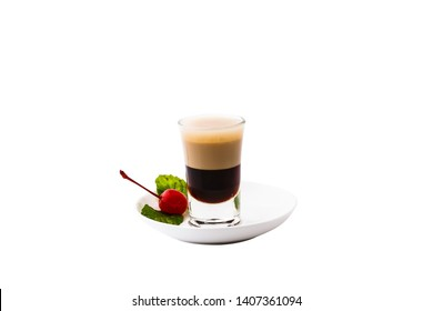 Flaming B-52, Layers Kahlua, Baileys, Triple sec isolated on white background.