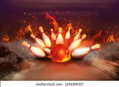 Flaming bowling ball bouncing pins. Successful hit - strike