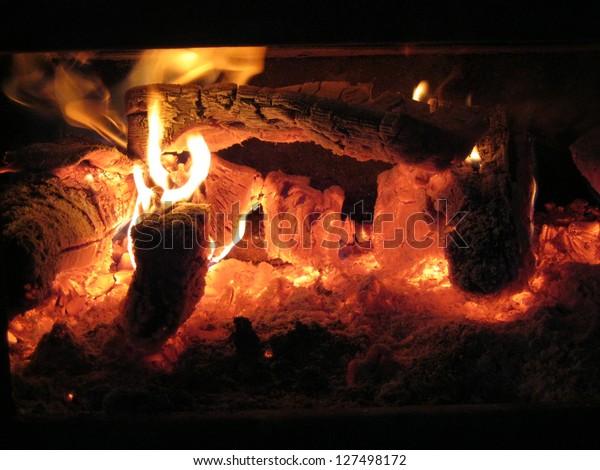 Flaming Burning Wood