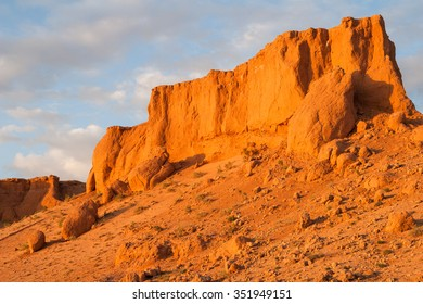 Flaming Cliffs (Bayanzag) on Gobi Desert in Mongolia