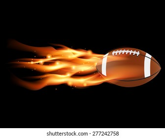 A flaming football flying against a black background.