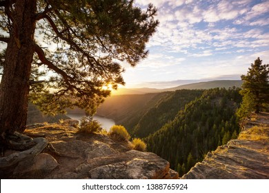Flaming Gorge recreation area at sunrise